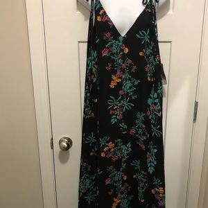 Eva Mendes Maxi Floral Black Dress